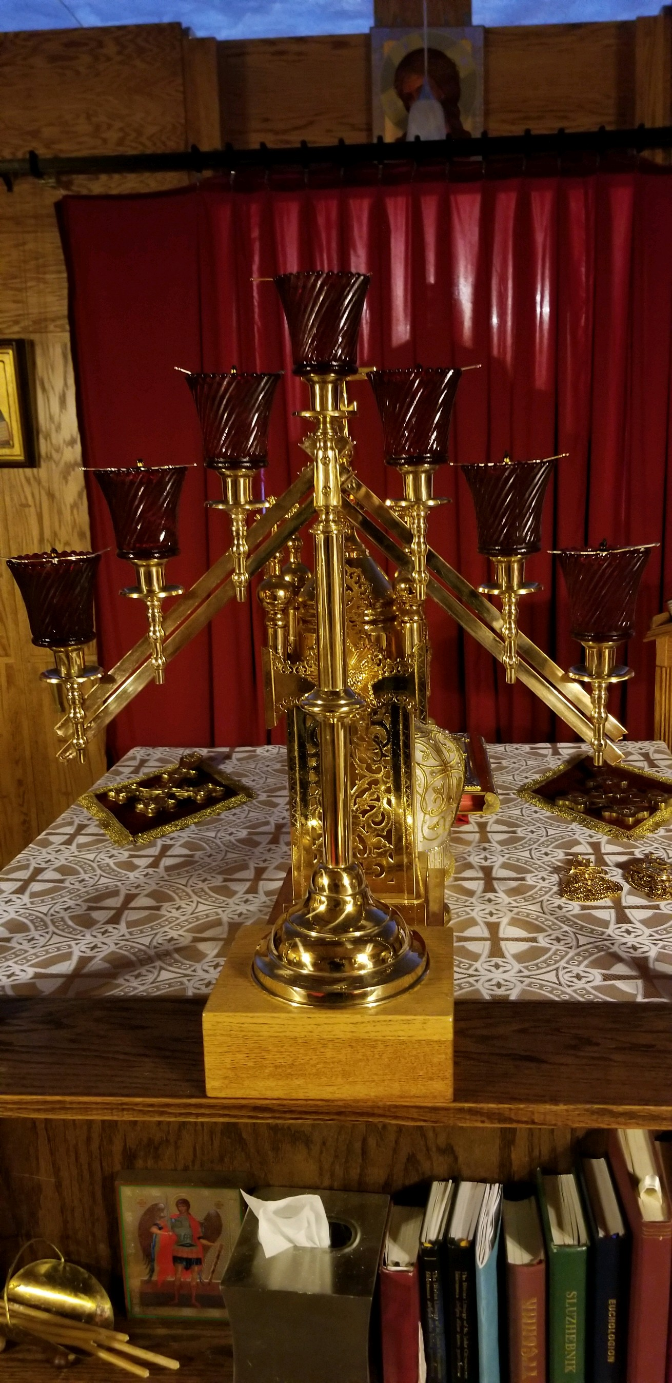 chapel needs: 7 branch lamp holder gold plated